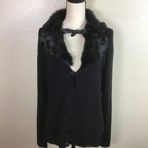 Michelle Nicole Faux Fur Collar Cardigan